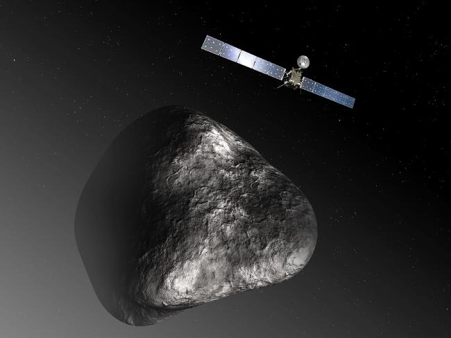 An artist's impression of the Rosetta orbiter at comet 67P/Churyumov–Gerasimenko. A similar mission to observe the interstellar asteroid Oumuamua is a far more ambitious project. Picture: ESA