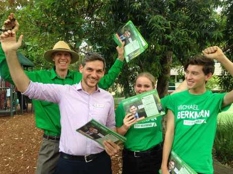 Michael Bergman and supporters in Maiwar. Picture: Brendan O'Malley