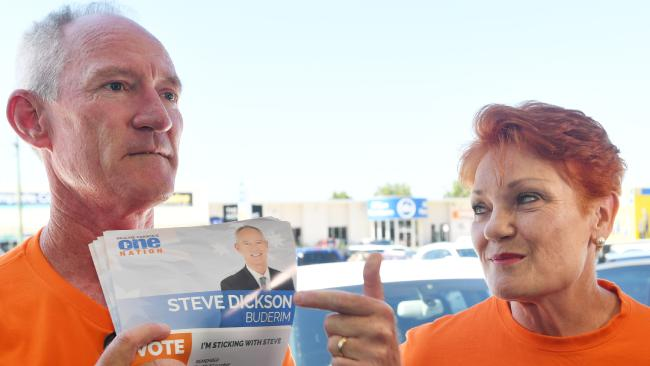 Queensland One Nation Leader Steve Dickson and One Nation Leader Senator Pauline Hanson on the Sunshine Coast.