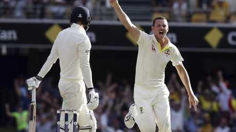 Josh Hazlewood celebrates James Vince's wicket.