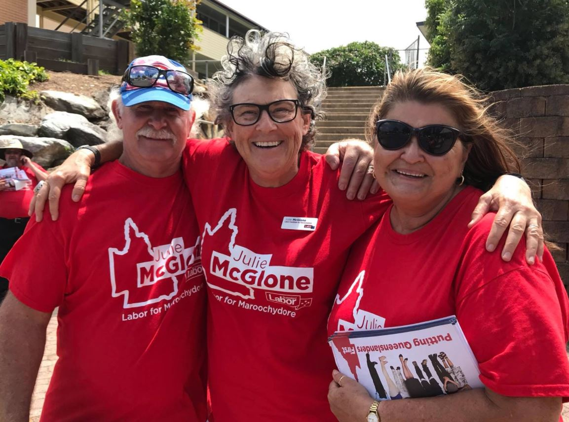 Labor candidate for Maroochydore Julie McGlone with her supporters on the campaign trail today.