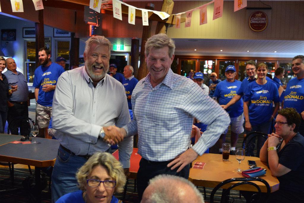 Member for Lockyer Ian Rickuss congratulates LNP Candidate Jim McDonald at the Porters Plainland Hotel.