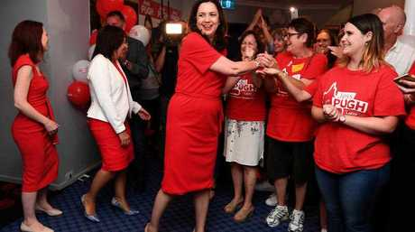 Queensland Premier Annastacia Palaszczuk is greeted by supporters as she arrives to an election night function at the Oxley Golf Club in Brisbane, Saturday, November 25, 2017. Queenslanders voted today in the state's election.