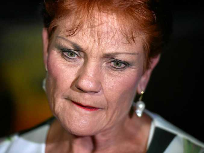 One Nation leader Senator Pauline Hanson speaks to the media as she leaves the campaign party house in Buderim.