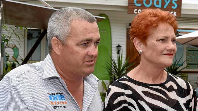 One Nation candidate Damian Huxham and Senator Pauline Hanson in Hervey Bay.