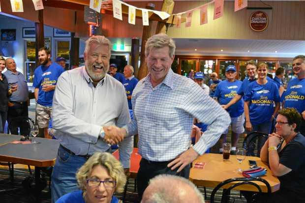 Member for Lockyer Ian Rickuss congratulates LNP Candidate Jim McDonald at the Porters Plainland Hotel on Saturday night.