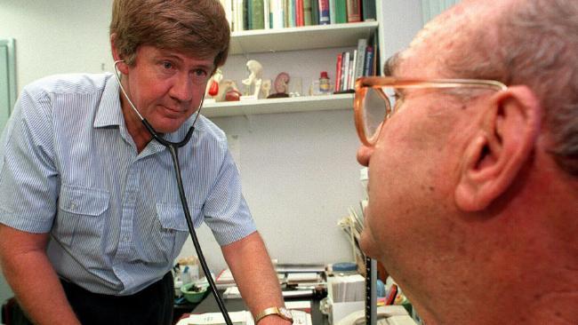 Ipswich GP Dr Jim Tankey with patient Allan Summers.