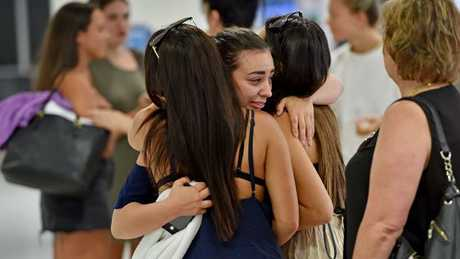 Upset schoolies return on Sunday disappointed. The former HSC students arrived on a Jetstar flight from Cairns. Picture: Troy Snook