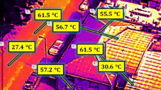 A Darwin heat mitigation study has found some surface temperatures are in excess of 60C. Picture: UNSW