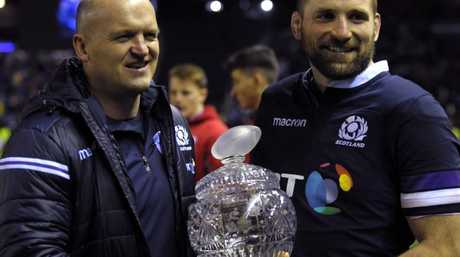 Coach Gregor Townsend and John Barclay with the Hopetoun Cup.
