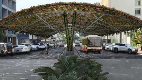 Artists impression of a vine shade structure over Cavenagh Street in Darwin. Picture: Supplied