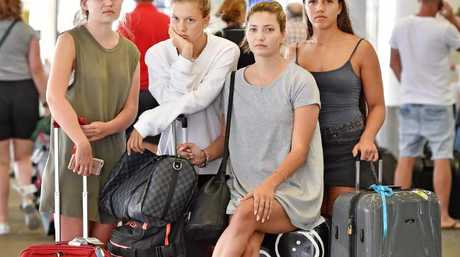 Disappointed that their end of year holiday went no where. L-R: Emmi Payten, Rosie Buman, Tilly Paterson, & Emily Nicholson, all 18. Picture: Troy Snook