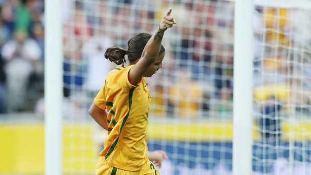 Sam Kerr celebrates a goal for the Matildas against China.