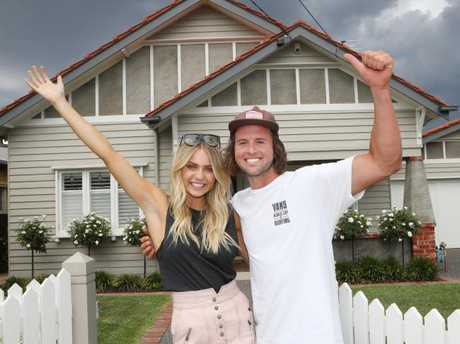 The Block winners Josh and Elyse outside their Coburg house. Picture: David Crosling