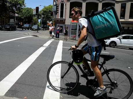 Some critics are questioning whether Deliveroo riders have been given enough training on Australian city streets. Picture: John Grainger.