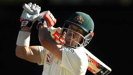 Australian opener David Warner hits out against England on Sunday.