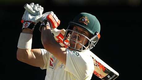 Australian opener David Warner hits out against England on Sunday.