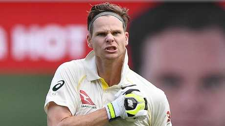 Steve Smith scored an unbeaten 141 on day three at the Gabba.