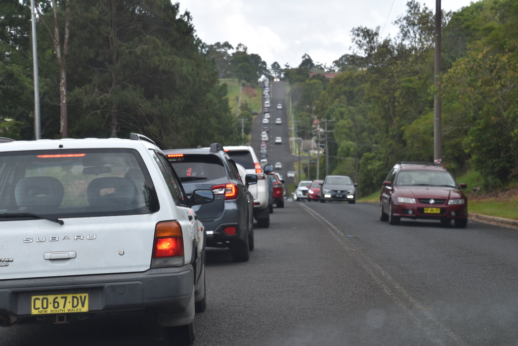 Driving to work wasn't easy this morning after truck rollover. Traffic was banked up down Holland Street to the roundabout on the Bruxner Highway.