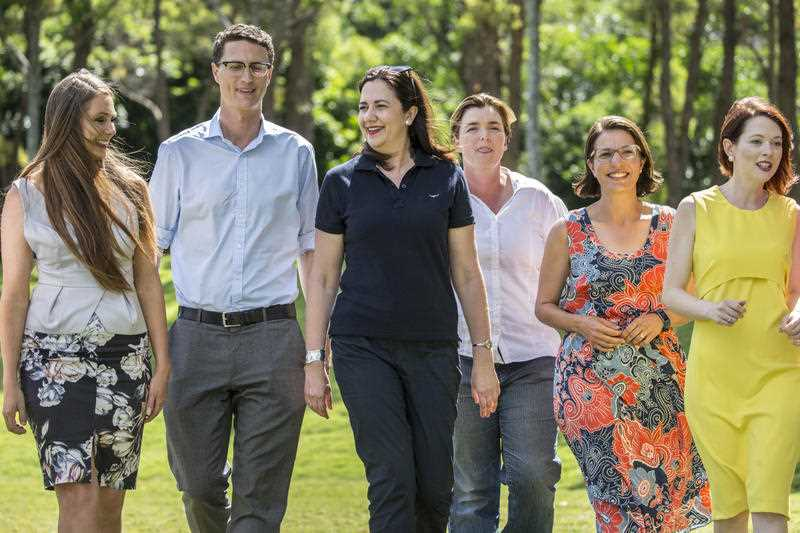 Queensland Premier Annastacia Palaszczuk (4th from left) with winning Labor candidates (L-R) Meaghan Scanlon (Gaven), Bart Mellish (Aspley), Melissa McMahon (Macalister), Charis Mullen (Jordan), Jess Pugh (Mount Ommaney) at a barbecue at Rocks Riverside Park, Seventeen Mile Rocks, the day after the 2017 Queensland election, Brisbane, Sunday, November 26, 2017.