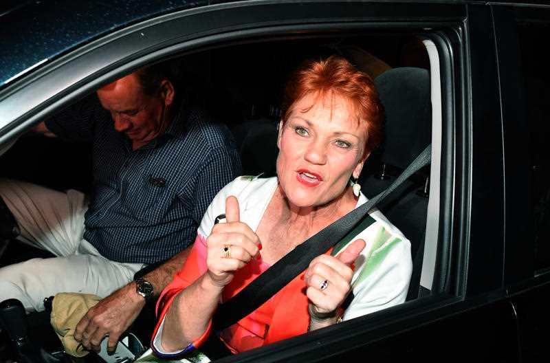 One Nation leader Senator Pauline Hanson leaves the campaign party house in Buderim on the Sunshine Coast, Saturday, November 25, 2017.