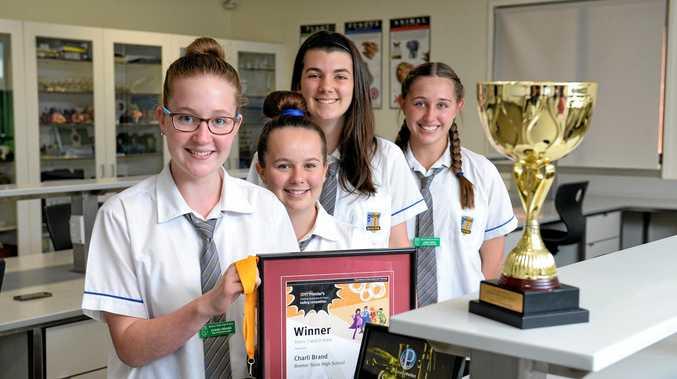 WELL DONE: Bremer High School students Charli Brand, Abbey Howells, Ashlynn Dowling and Lena Teske won some science awards.
