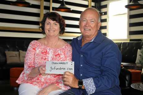 Ethan Hassett's mum, Sharon Hassett, with Mackay businessman John Glanville at The Dispensary in Mackay.