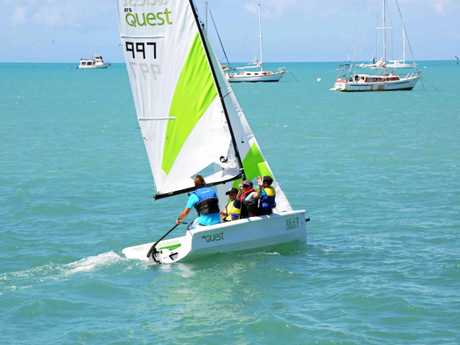 On the water with the new RS Quest at the Whitsunday Sailing Club.