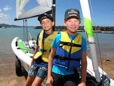 Tyler Greenhill and Josh King get ready to sail the new RS Quest on Sunday.