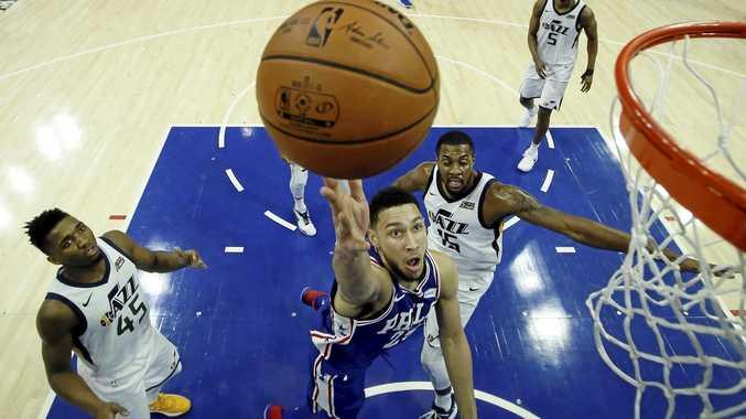 Philadelphia 76ers' Ben Simmons goes up for a shot.