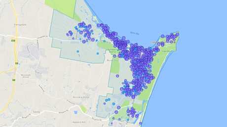 Active Airbnb listings in Byron Bay.