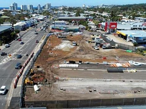 Major upgrade works are being undertaken at Aerodrome Road as a part of construction of the new Maroochydore CBD.