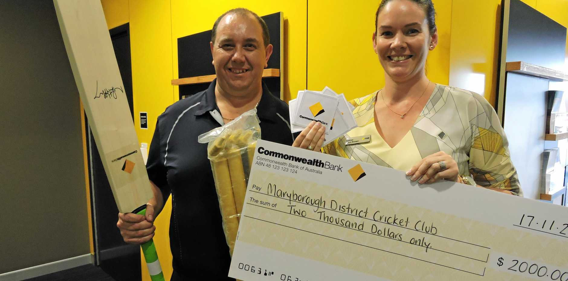 Maryborough District Cricket Association general manager Chris Strochnetter received sponsorship in the way of cash and equipment by CommBank's branch manager Lauren Bateup.