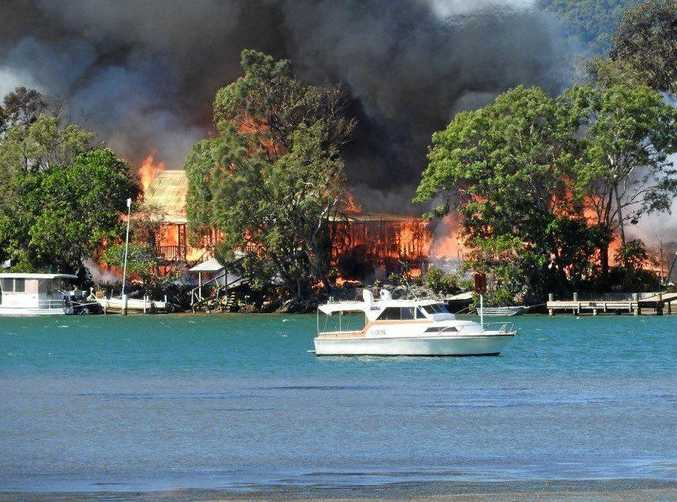 VICIOUS BLAZE: A fire at Noosa North Shore destroyed three houses, including Mike and Lynne Hancock's home.