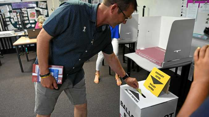 POSITION VACANT: Outgoing councillor David Batt votes at Bundaberg East State School on Saturday.