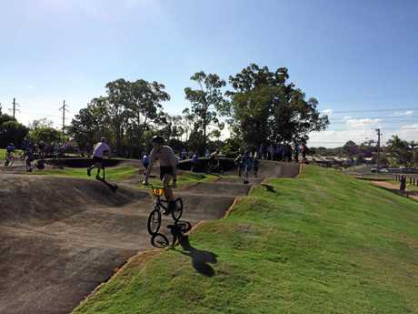 PUMPED: Zac Hutton was one of the first to check out the new pump track.