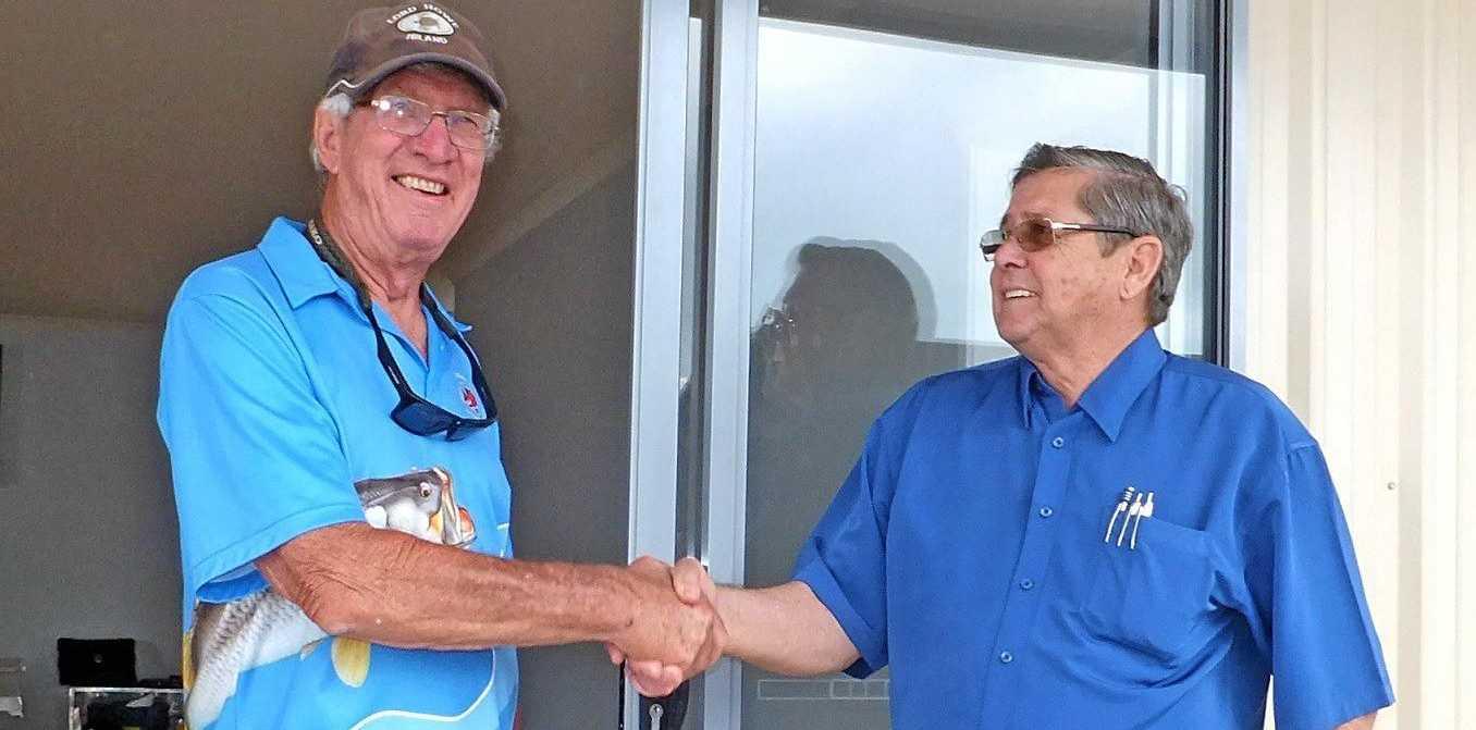 Club president Graeme Legg with Ted Sorensen.