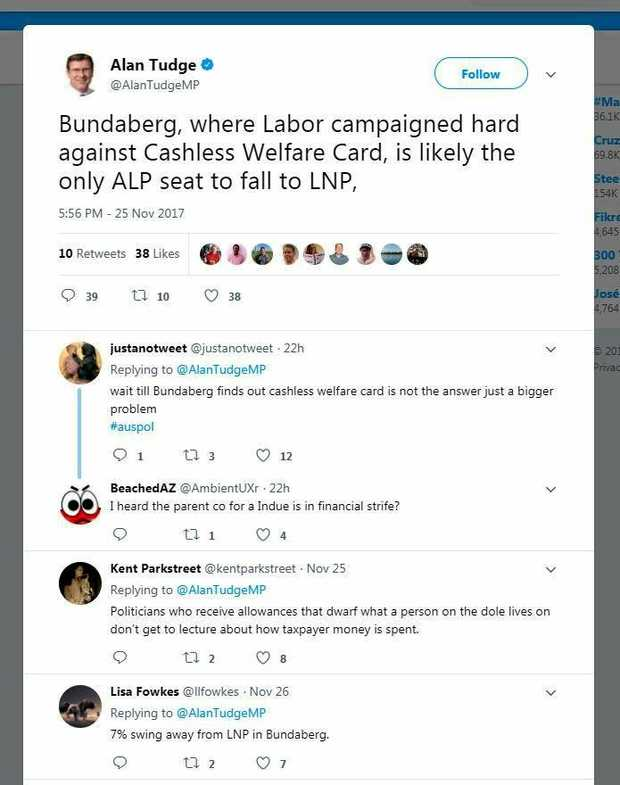 BACK-FIRED: Tweeters tore shreds off Human Services Minister Alan Tudge.