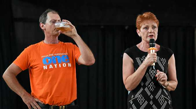 One Nation leader Pauline Hanson (right) and One Nation's candidate for Maryborough James Hansen are seen during a speech during a stop at the Maryborough Sports Club in Maryborough, Monday, Nov. 6, 2017.