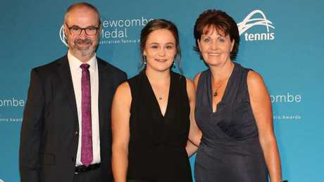 Ash Barty with her parents Robert and Josie at the Newcombe Medal awards night.