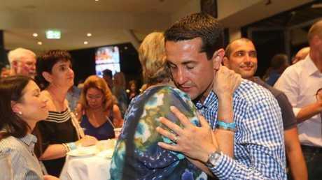 Broadwater MP David Crisafulli with his Mum Karen Crisafulli at his victory party at Hope Island. Picture Mike Batterham