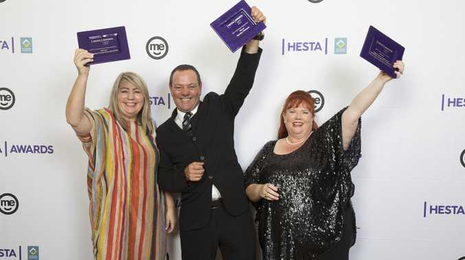 HESTA AWARDS: The 2017 winners, Southern Cross Care's (SA & NT) Jo Boylan, Gordon Manuel of Mark Moran Group and Crest NT's Sally Morris.
