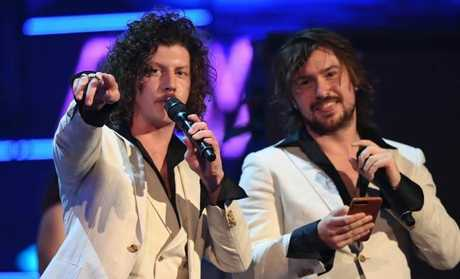 Adam Hyde and Reuben Styles — Peking Duk — accept the ARIA award for Song of the Year.