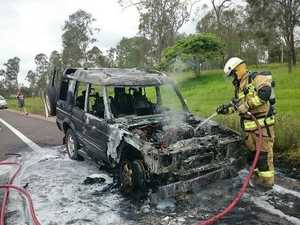 Driver shares video footage driving past car fire near  Tiaro