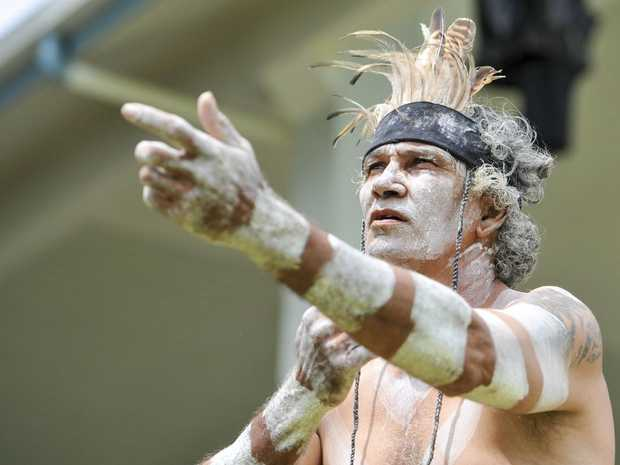 Dancers of the Warrior Descendance perform at the celebration of the native title determination, at Gladstone Marina.