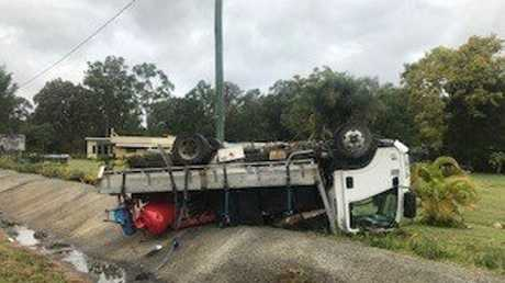 A truck rolled after wet weather.
