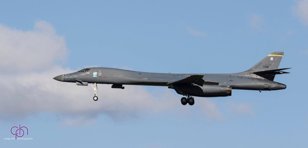 A United States Air Force B-B1 Lancer on approach to RAAF Base Amberley.