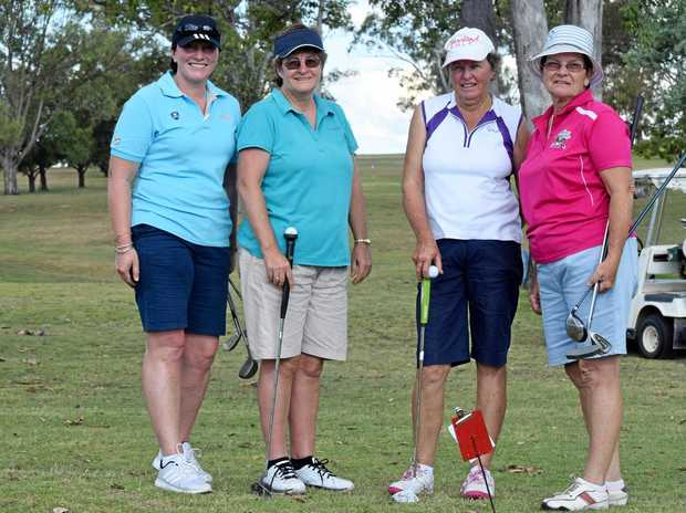 READY TO PLAY: Jodie McDonald, Christine Vicary, Gayle Bennett and Lorraine Lindenmayer at the three club championships.