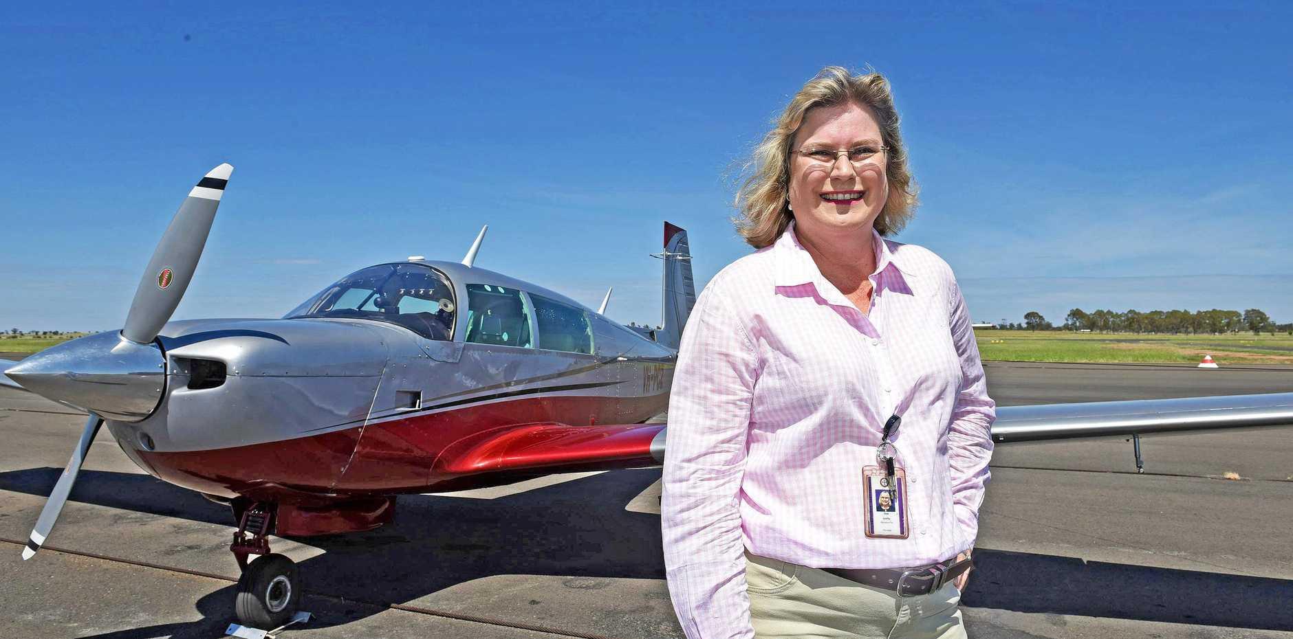 HIGH FLYER: Ann Leahy at the Roma Aero Club on Monday.