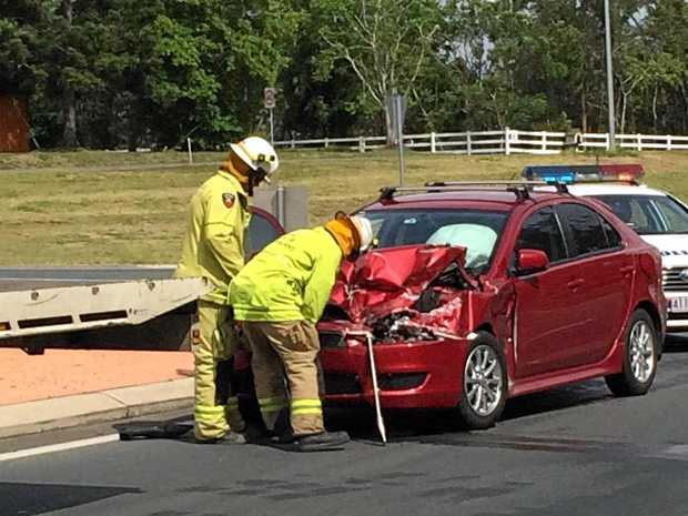 A car damaged in a Bruce Hwy crash on Tuesday morning